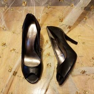 Calvin Klein Krista Leather Peep Toe Heels